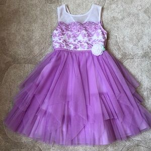 Size 5 floral tiered spring dress purple